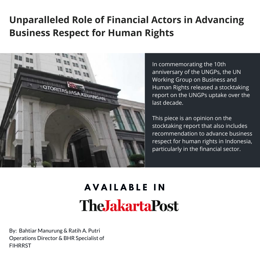 Unparalleled role of financial actors in advancing business respect for human rights